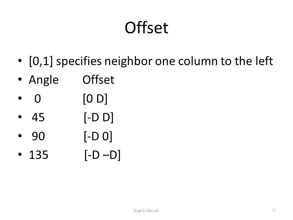 Offset [0,1] specifies neighbor one column to the left Angle Offset
